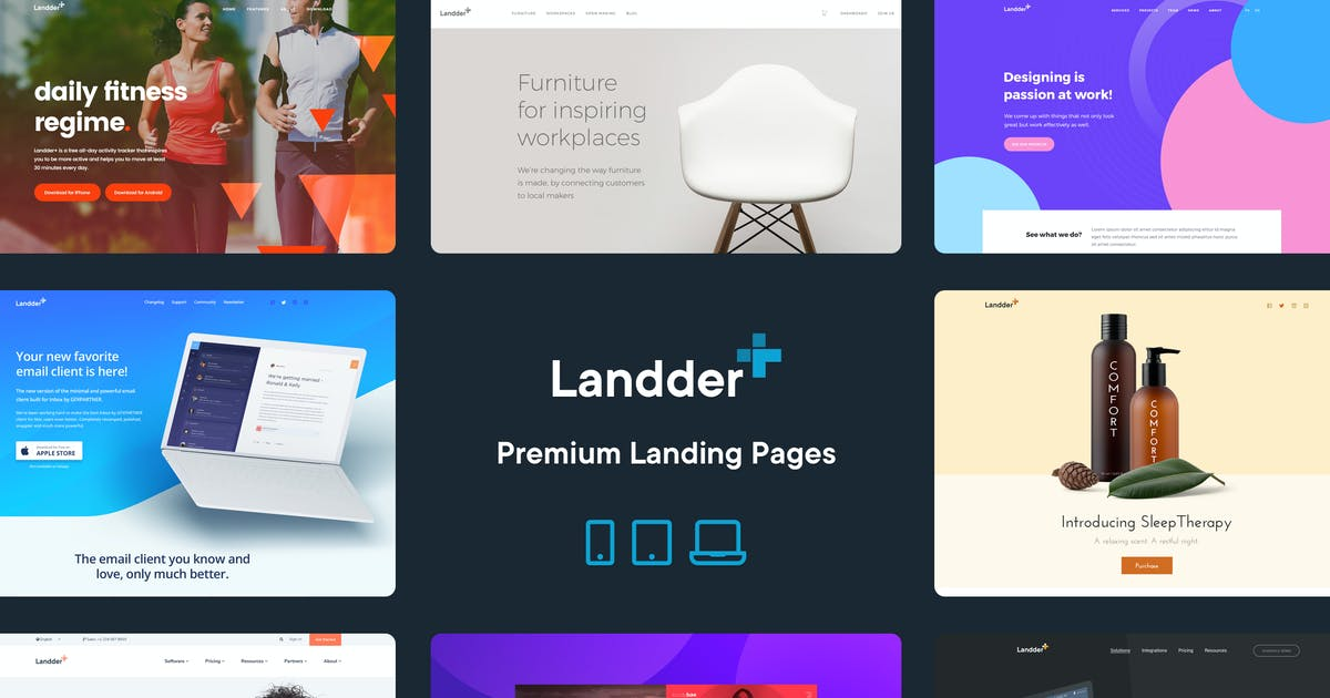 Download Landder+ – Lead Generation HTML Landing Pages by GfxPartner