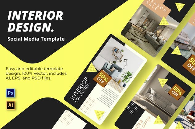 Yellow Interior Social Media Template - product preview 0