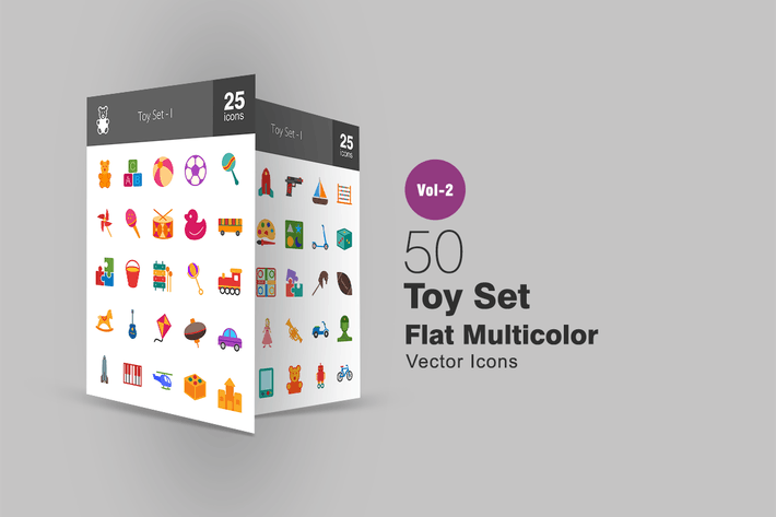 Thumbnail for 50 Toy Set Flat Multicolor Icons