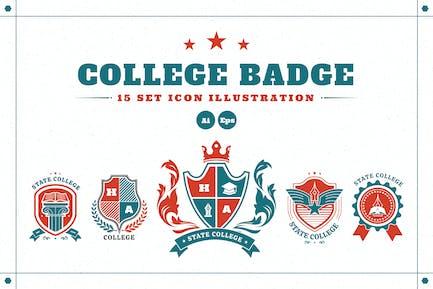 College-Abzeichen-Bild-Set