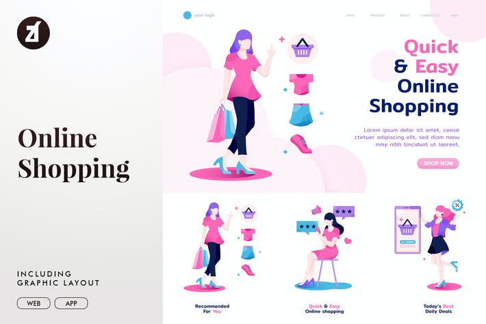 Thumbnail for Online shopping for woman templates
