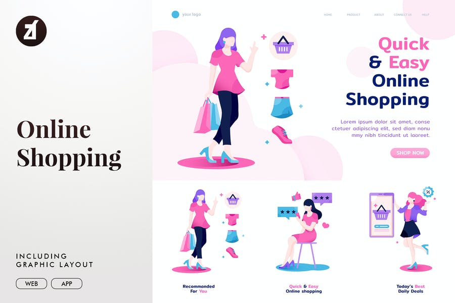 Online shopping for woman templates