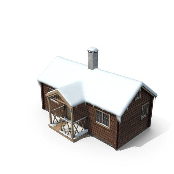 Mountain Cabin with Snow