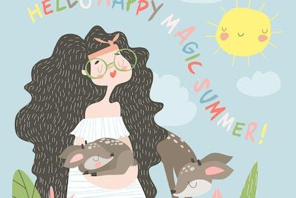 Смешные мультфильм девушка с оленем #illustration2020