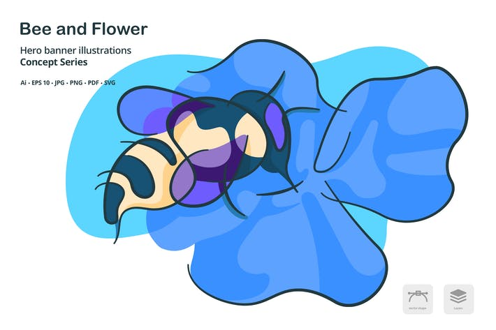 Thumbnail for Bee Flower Agriculture Vector Illustration