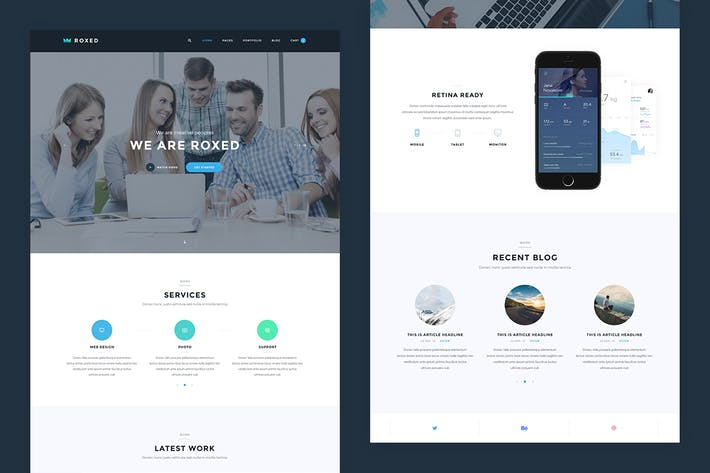 Thumbnail for Roxed — Landing Page PSD Template