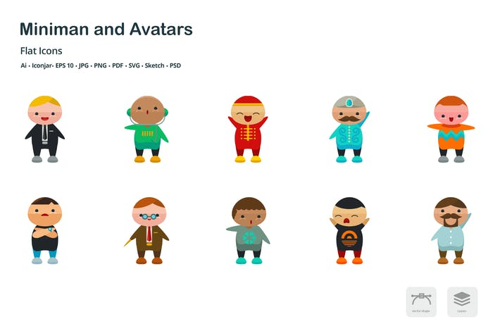 Thumbnail for Miniman Avatars People Flat Colored Icons