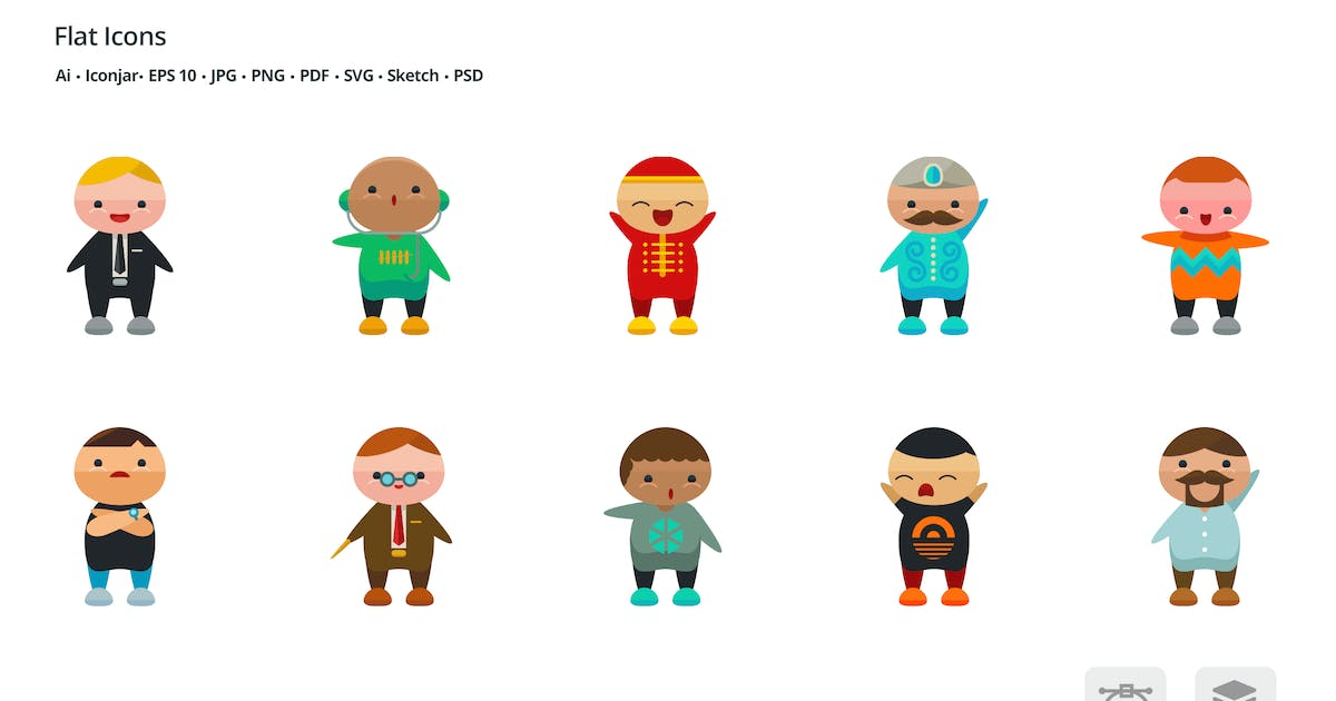 Download Miniman Avatars People Flat Colored Icons by roundicons