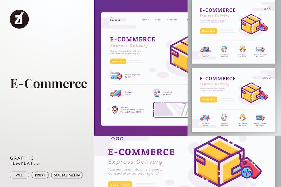 E-Commerce graphic templates and landing page