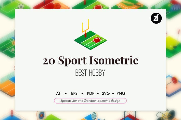 Thumbnail for 20 Sport isometric elements pack