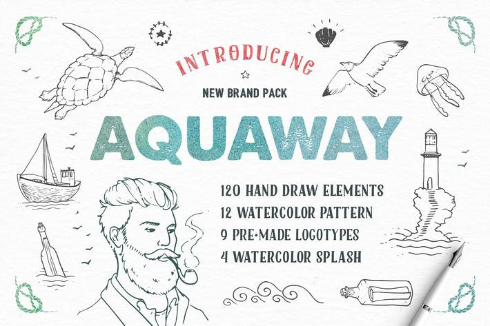Thumbnail for AquaWay — watercolored vector pack