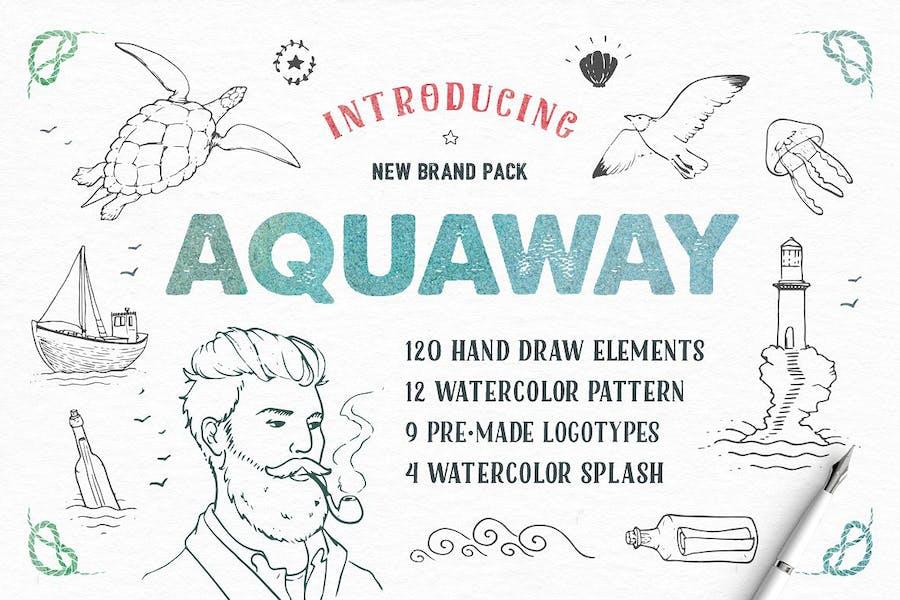 AquAway — Aquarell VVektor paket