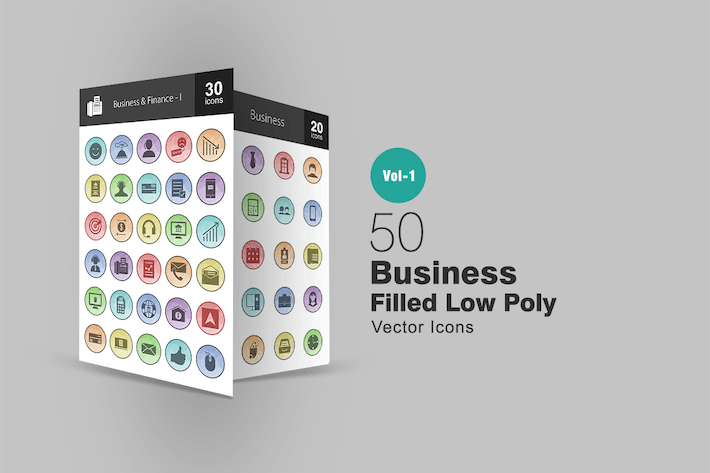 Thumbnail for 50 Business Filled Low Poly Icons