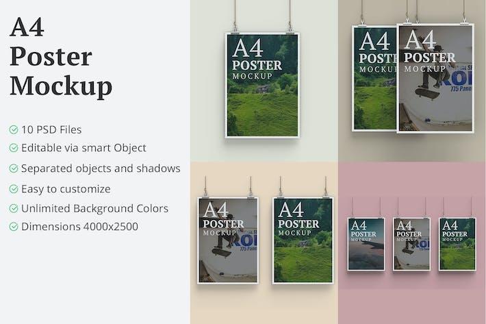 Thumbnail for A4 Hanging Poster Mockup - 10 PSD Files