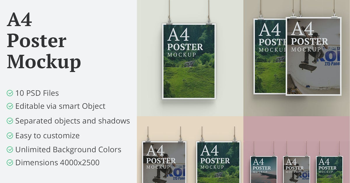 Download A4 Hanging Poster Mockup - 10 PSD Files by erdp