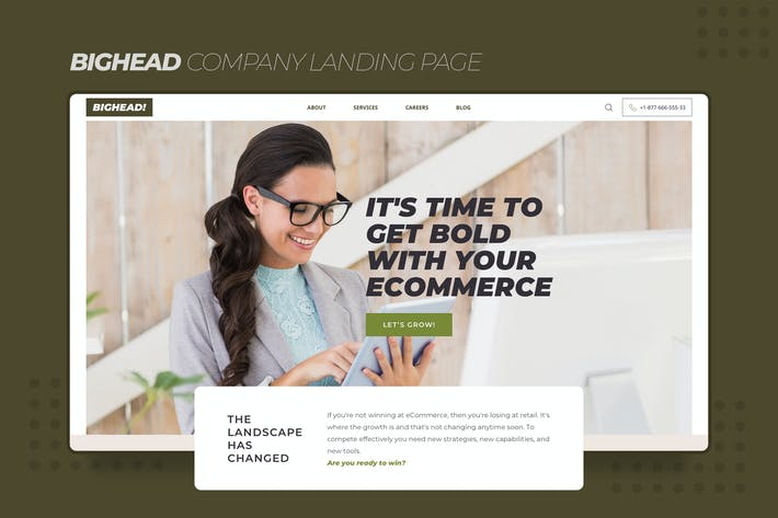 Thumbnail for Bighead Company Landing Page Sketch Template