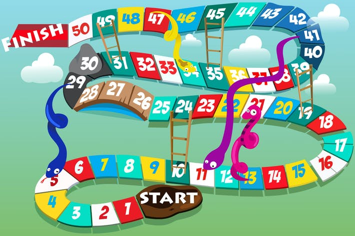 Snakes and Ladders Illustration