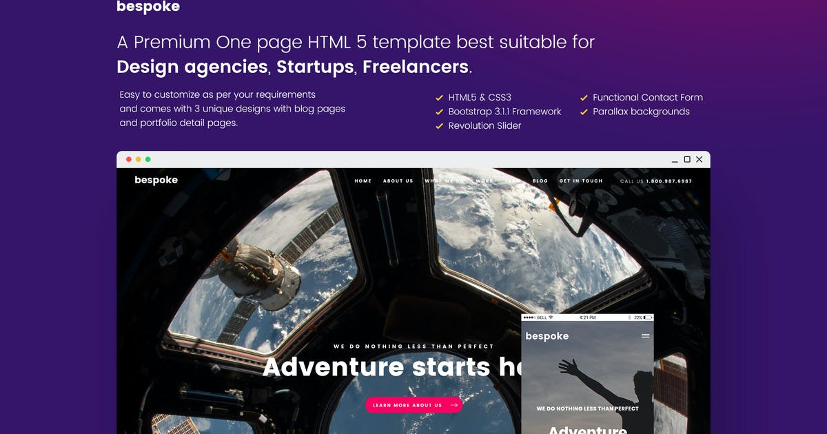 Download Bespoke One Page Creative HTML Template by nasirwd