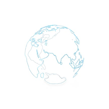 Earth Contours of Continents Made of Blue Glass