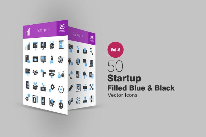 Thumbnail for 50 Startup Blue & Black Icons