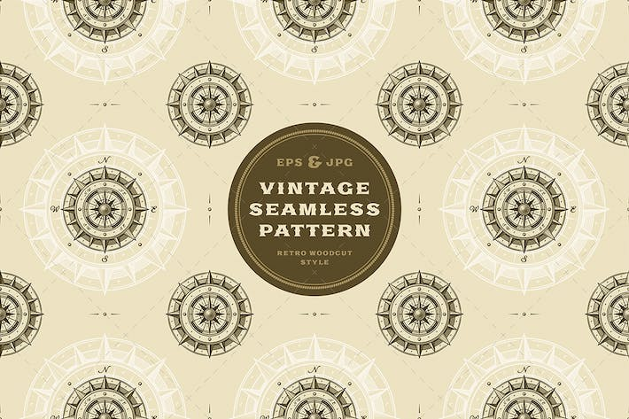 Thumbnail for Seamless vintage compass pattern
