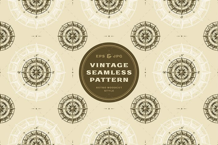 Cover Image For Seamless vintage compass pattern