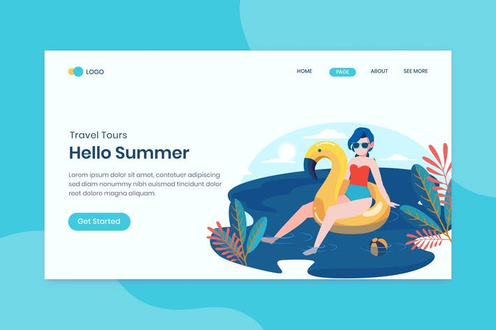 Thumbnail for Summer Holiday Travel Landing Page Template