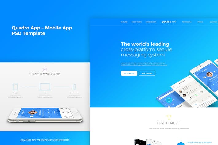 Thumbnail for Quadro App - Mobile App PSD Template
