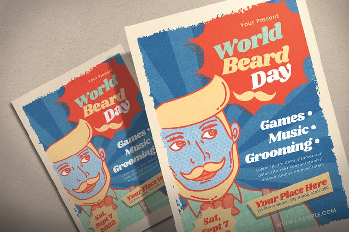 Thumbnail for World Beard Day Retro - Flyer Template