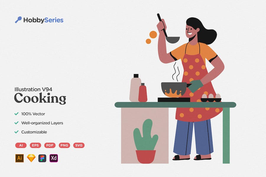 Hobby Illustration: Cooking Homemade Dishes