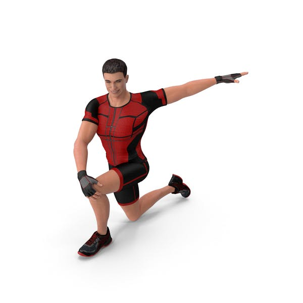 Athletic Man Doing Lunge And Twist