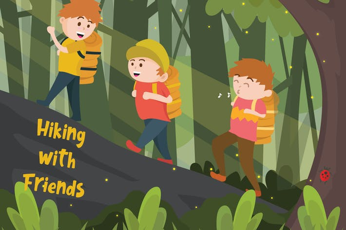Thumbnail for Hiking Mountain - Vector Illustration