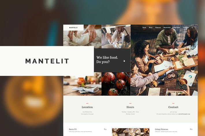 Thumbnail for Mantelit - Restaurant WordPress Theme