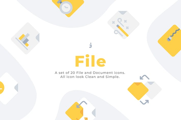 Thumbnail for 20 File and Document icons - Flat