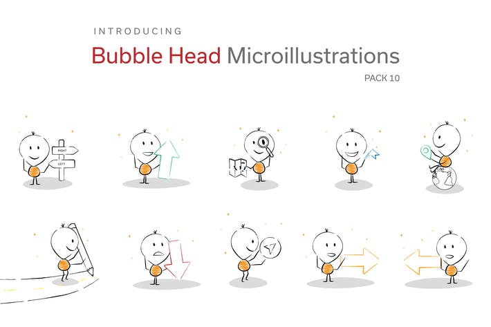 Thumbnail for Bubble Head Micro Illustrations - Directions Pack