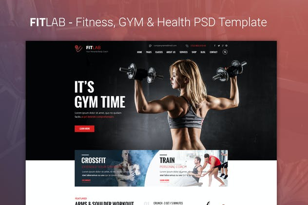 FITLAB - Fitness, GYM & Health PSD Template