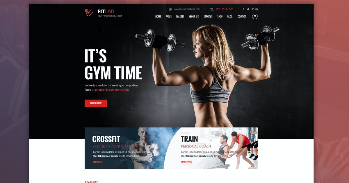 Download FITLAB - Fitness, GYM & Health PSD Template by Unknow