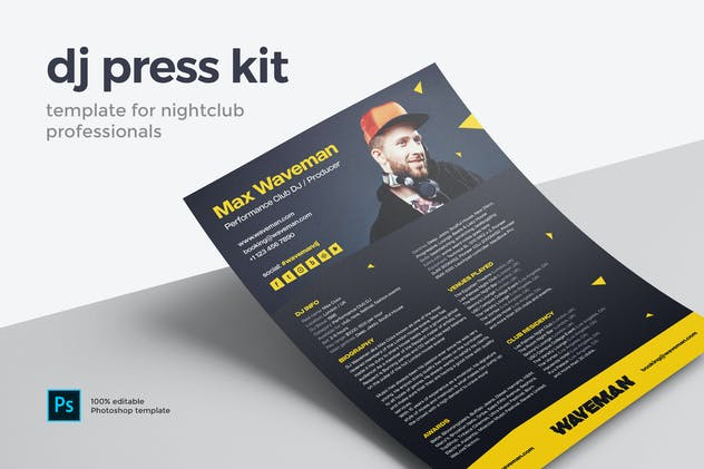 Modern DJ Press Kit / Resume / Rider Template