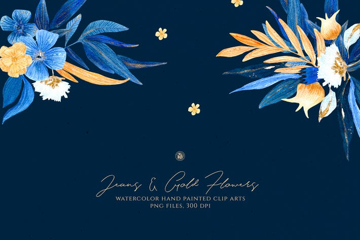 Thumbnail for Jeans and Gold Flowers