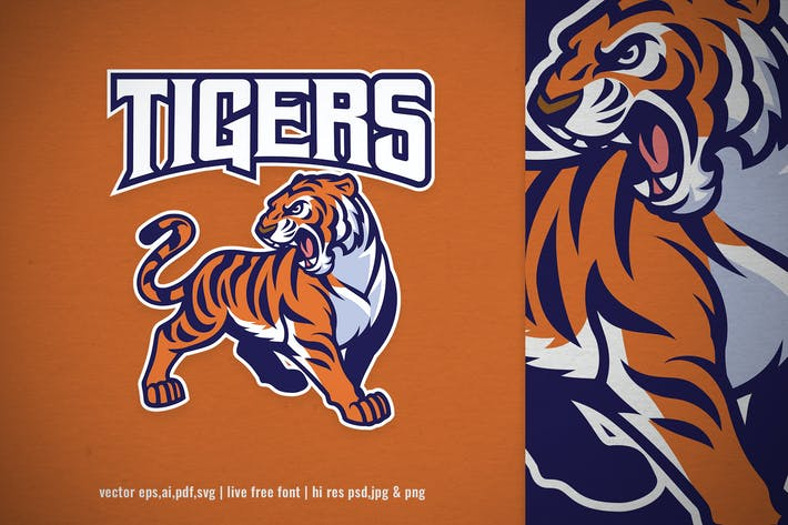tiger mascot for sport and e-sport logo