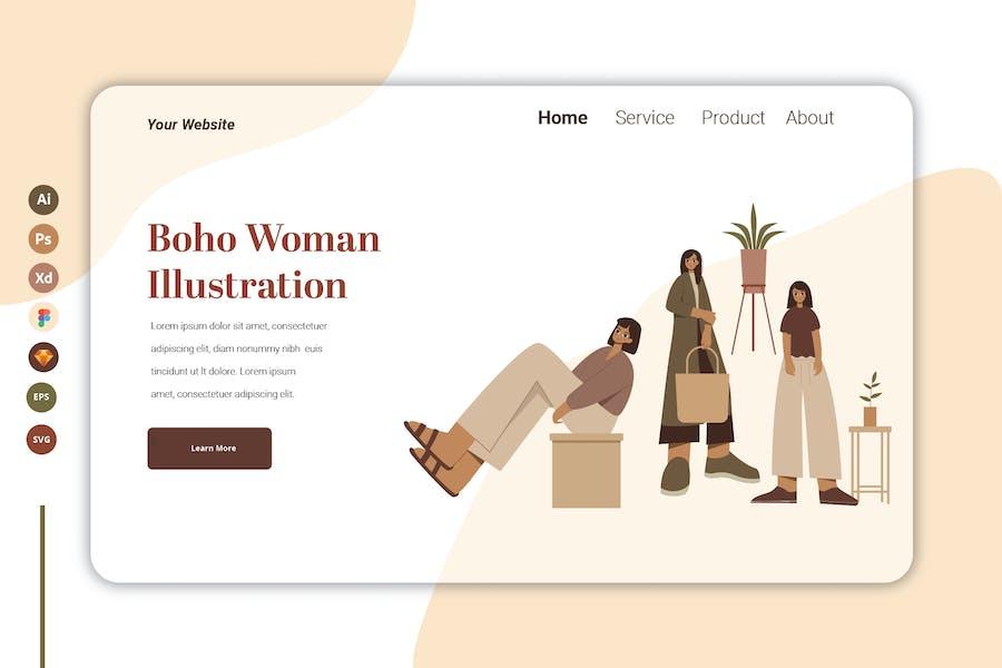 Boho Woman Vol 6  - Landing Page Template