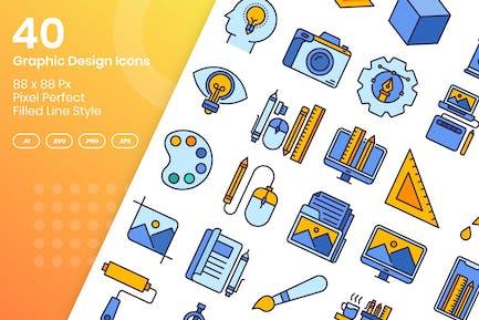 40 Grafik-Design-Icons Set - gefüllte Linie