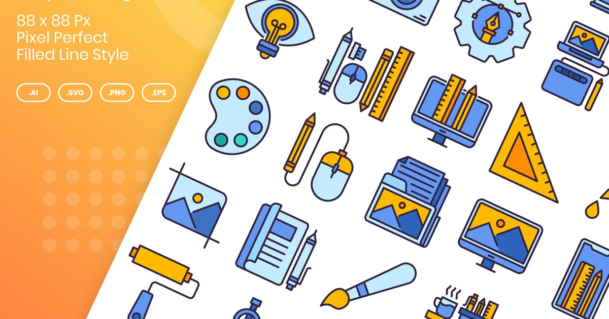 Download 40 Graphic Design Icons Set - Filled Line by kmgdesignid