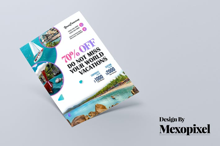 Cover Image For Travel Tour and Vacation Flyer PSD Template