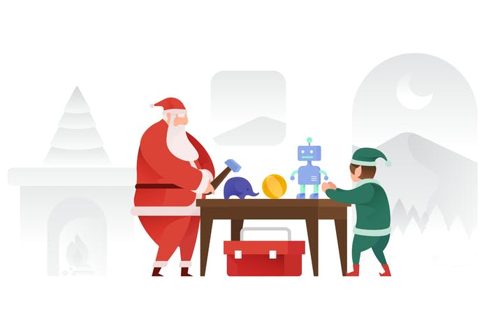 Thumbnail for Santa Claus making Toys Vector Illustration