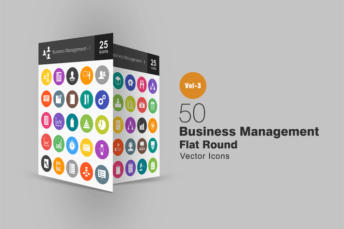 Thumbnail for 50 Business Management Flat Round Icons