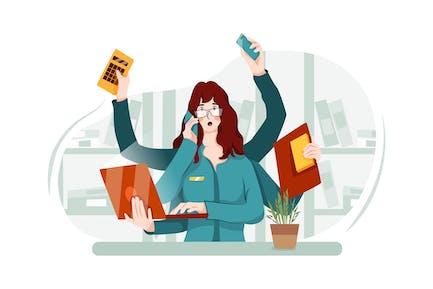 Una trabajadora de oficina ocupada tiene muchas cosas que hacer