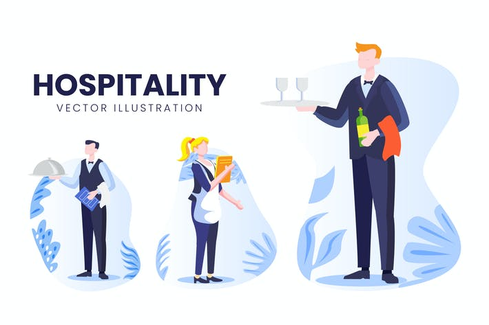 Набор Вектор символов для гостиничного бизнеса