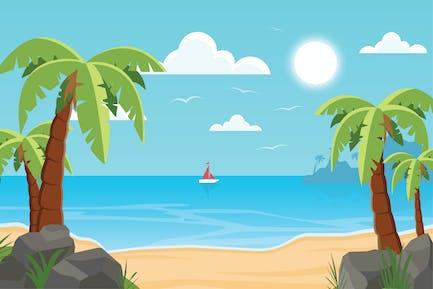 Summer Beach - Landscape Illustration