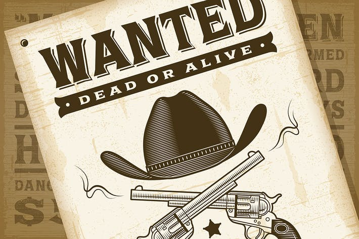 Thumbnail for Póster Vintage de Western Wanted.